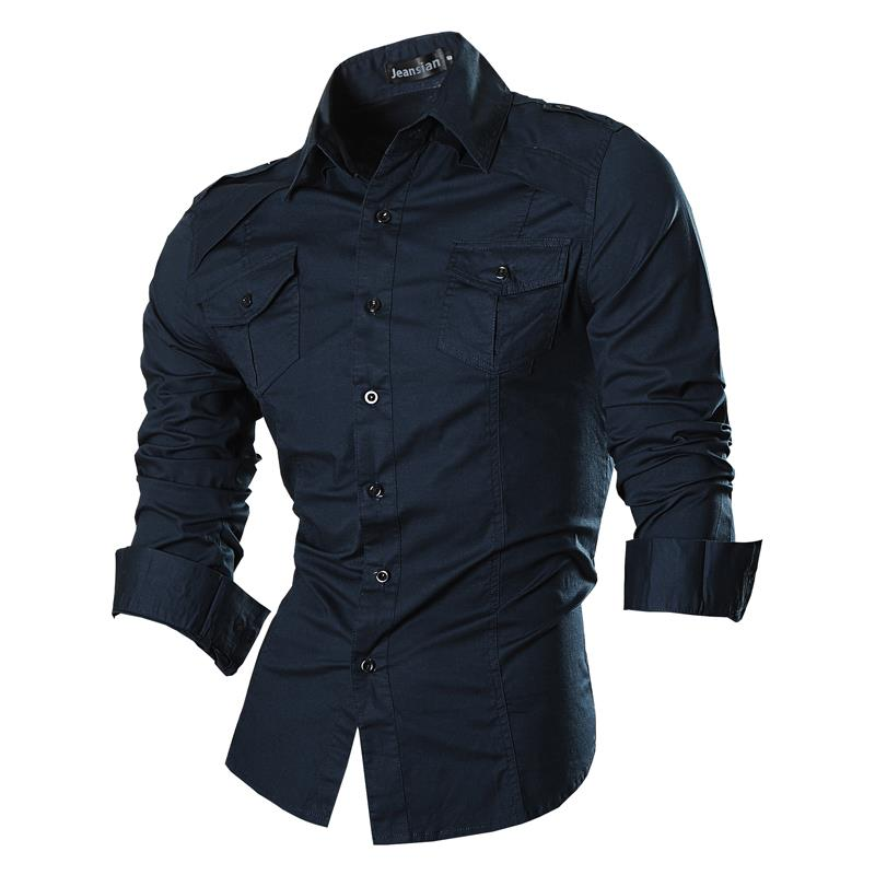 Jeansian Men's Fashion Dress Casual Shirts Button Down Long Sleeve Slim Fit Designer 8001 Navy2