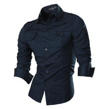 Jeansian Mens Fashion Dress Casual Shirts Button Down Long Sleeve Slim Fit Designer 8001 Navy2