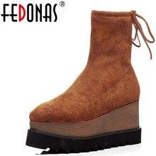 Fedonas Co Giãn Đàn Nữ Mắt Cá Chân Giày Đế Xuồng Gót Ngắn Boot Các Nền Tảng Thu Đông Giày Người Phụ Nữ Thời Trang Vớ Giày Cao