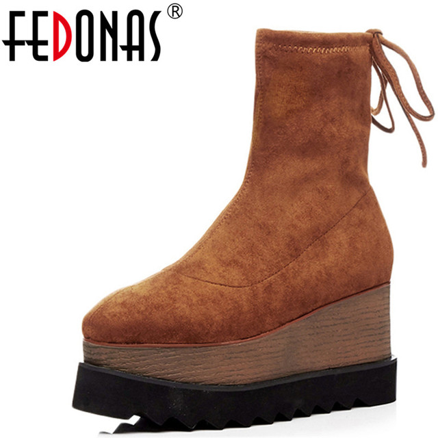 Fedonas Stretch Flock Vrouwen Enkellaarsjes Wiggen Hakken Korte Laarsjes Platforms Herfst Winter Schoenen Vrouw Mode Sokken Hoge Laarzen