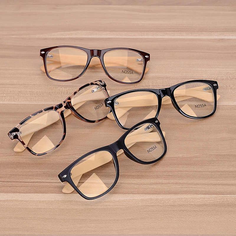 7241db17bb ... Oversized Glasses Frame Clear Lens Optical Frames Fake Eyeglasses  Wooden Bamboo Black Leopard Eyewear Frames Spectacle