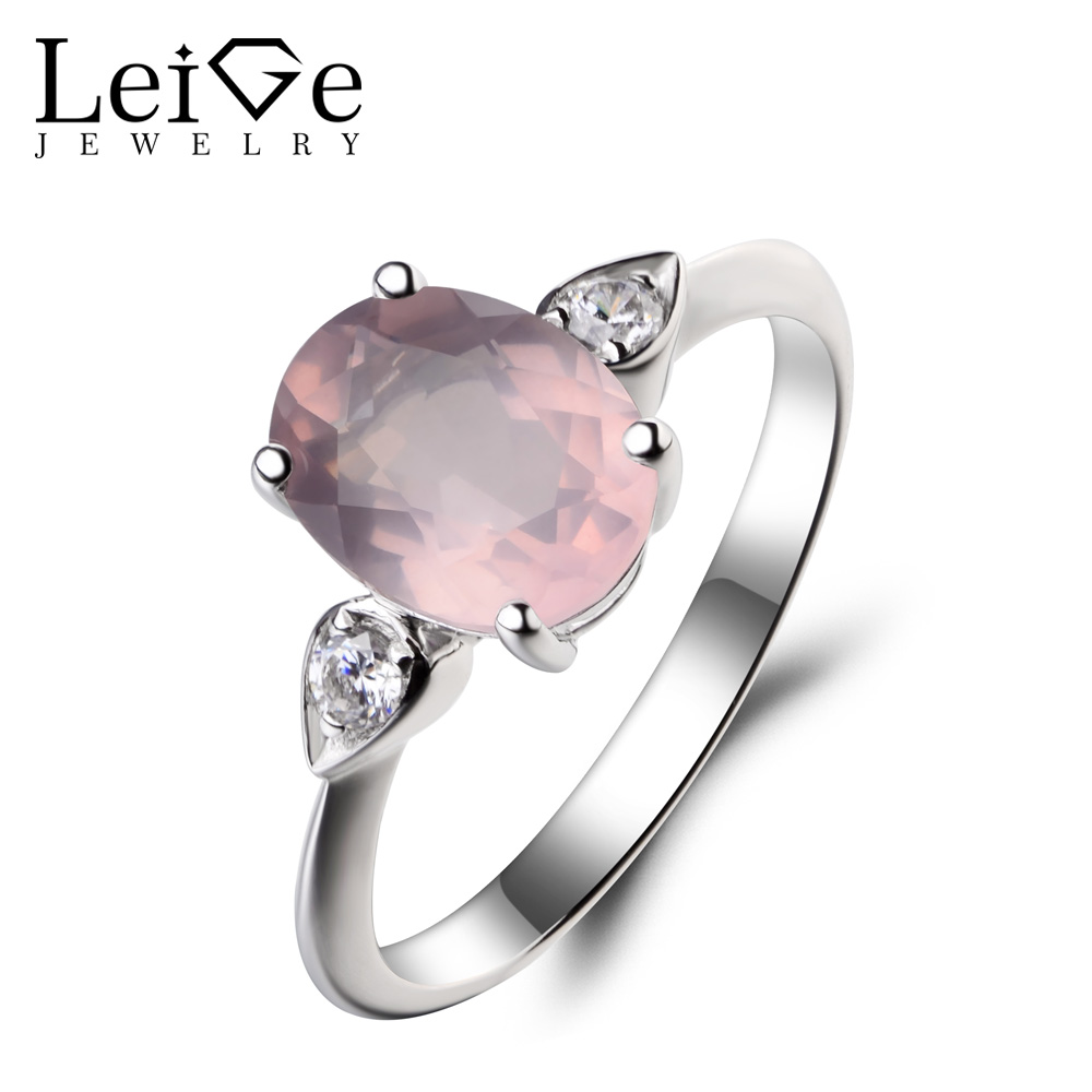 Leige Jewelry Oval Cut Pink Gemstone Wedding Ring Natural Pink Quartz Ring 925 Sterling Silver Ring Anniversary Gifts for Women leige jewelry promise ring natural pink quartz ring oval cut pink gemstone 925 sterling silver ring romantic ring for women