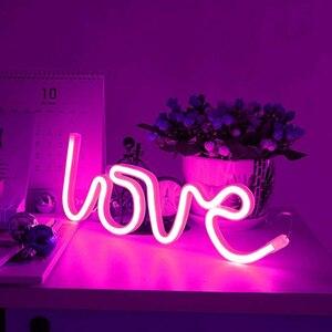 Image 1 - Неоновые знаки LOVE, светодиодные неосветодиодный светильники с аккумулятором/USB кабелем, Настенный декор для девочек, спальни, дома, бара, отеля, пляжа, для отдыха
