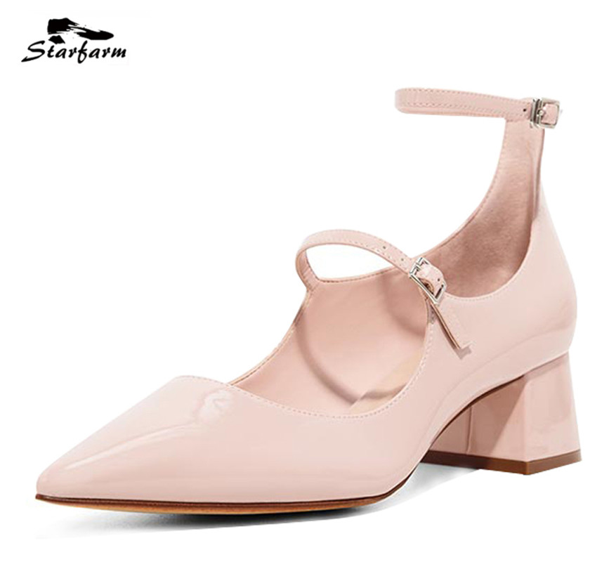Starfarm Mary Janes Pink Shoe Block Heel Women's Pump Patent Leather Shoe for Party 2017 chaussure femme talon цена и фото