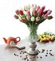 12 unids flowerwedding real touch pu mini tulipán flores artificiales flores de seda decoración del hogar