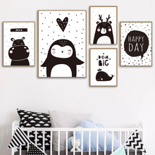Black White Deer Whale Penguin Hippo Wall Art Canvas Painting Cartoon Nordic Posters And Prints Pictures For Kids Bed Room