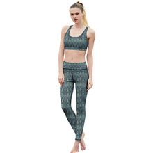 Print 2pcs Women Sport Yoga Sets for Running Gym Sportwear Sports Top Gym Bras Elastic Fitness Tights Suits for Woman