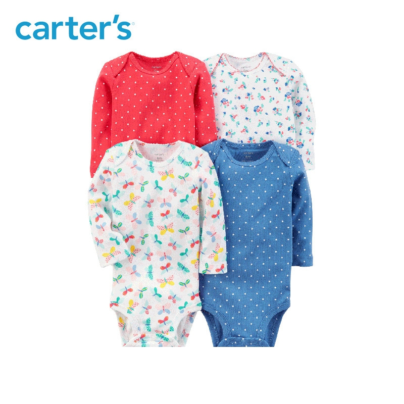Carters 4pcs Baby girl bodysuit long sleeve sweet prints bodysuits Cotton newborn baby clothes sets All Seasons 126H316