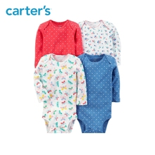 Carters 4pcs Baby girl bodysuit long sleeve sweet prints bodysuits Cotton newborn baby clothes sets All