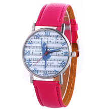 Style Roman Numeral Leather-based Watch Ladies Music Be aware and Ballet Dancing Lady Printed Analog Quartz Wrist Watch