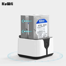 Kuwfi Dual Hard Disk Docking for 2.5″/3.5″ SATA HDD Enclosure USB3.0 5G High Speed 2 Bay Card Reader External Storage Box