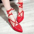 Новый Дизайн Лодыжки Strappy Танцевальная Обувь Балетная Обувь Женская Сексуальная острым Носом на Плоской Подошве Дамы Ремень Обуви Большой Размер 34-43 красный/розовый
