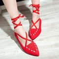 New Design Ankle Strappy Dance Shoes Women Ballet Shoes Sexy Pointed Toe Flat Shoes Ladies Belt Shoes Big Size 34-43 Red/pink