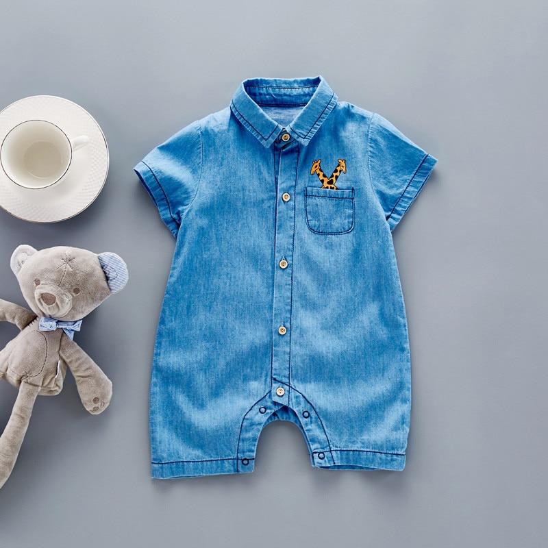 278ecc80489d 2017 Baby Romper Soft Denim Infant Clothes Newborn giraffe Cat Jumpsuit  Babies Boy Girls Costume Cowboy Fashion Jeans Children-in Rompers from  Mother   Kids ...