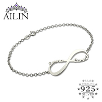 Infinity Name Bracelet Personalized Name Bracelet Infinity Symbol Sterling Silver Customized Name Bracelet