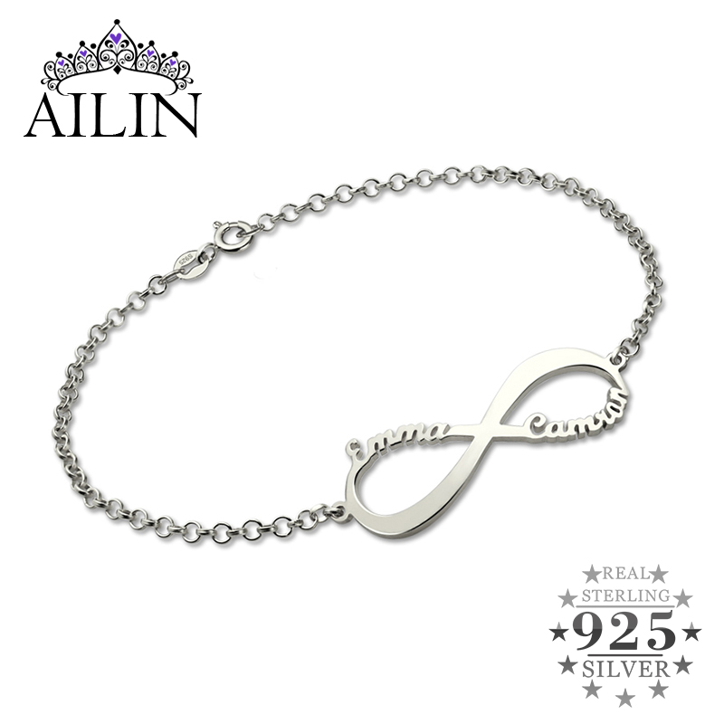 AILIN Infinity Name Bracelet Personalized Brand Name Bracelet Infinity Symbol Sterling Silver Customized Name Bracelet for Women wholesale infinity name bracelet gold color family bracelet with names custom name bracelet triple infinity sign mother jewelry