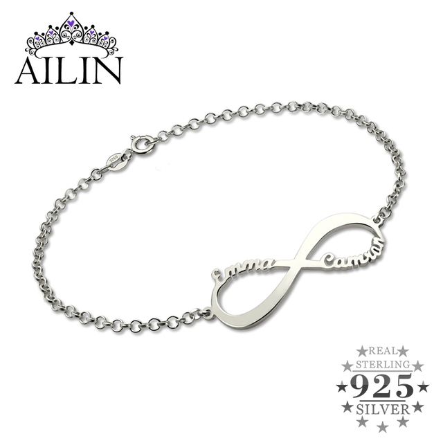 Ailin Infinity Name Bracelet Personalized Brand Symbol Sterling Silver Customized For