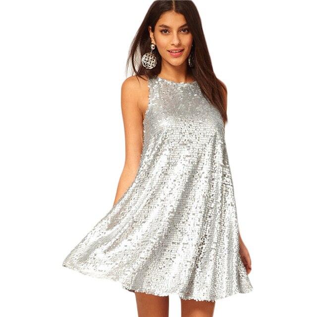 f5b3352df77e8 Women Vestidos Sex & Club Fashion Female Silver Color Sleeveless O-neck  Casual A-