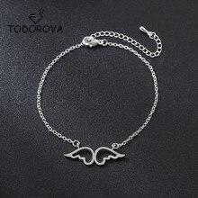 Todorova Double Angel Wings Heart Charm Bracelets for Women Fashion Jewelry Guardian Bangles Pulseira Feminina