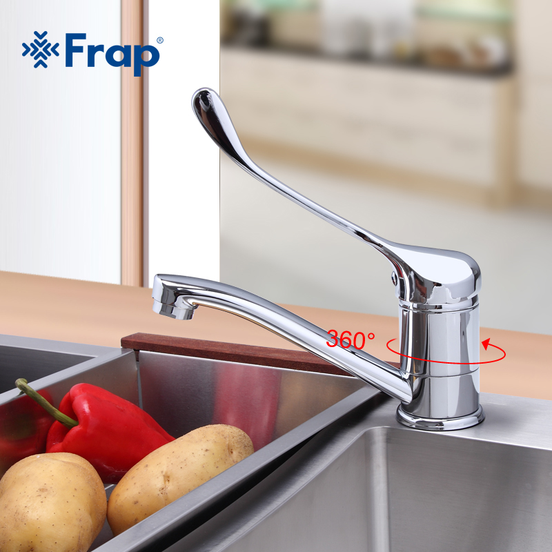 FRAP Kitchen Faucet Cold And Hot Water Mixer Chrome Finished Operation Medicinal Tap Super Long Single Handle F4554-2 & F4954