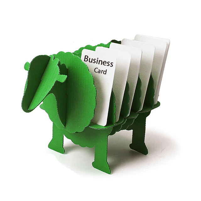 Puzzle Sheep Creative Diy Business Card Holder For Desk Animal Office Stationery Desktop Organizer