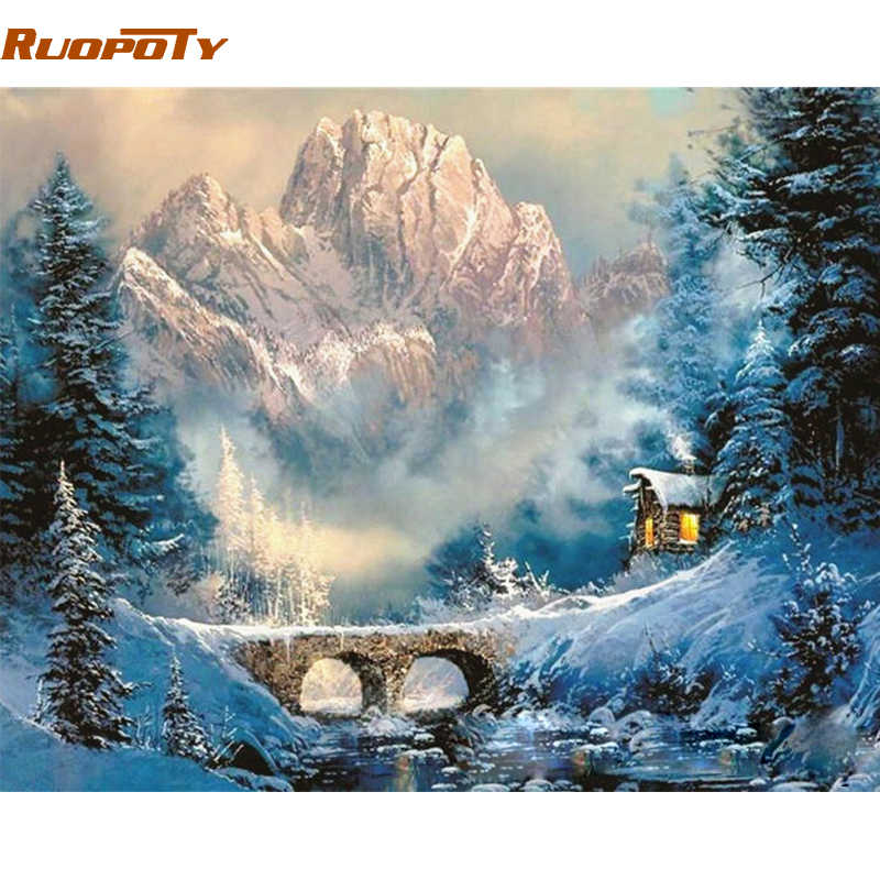 RUOPOTY Frame Mountain House DIY Painting By Number Modern Landscape Calligraphy Painting Acrylic Paint By Number For Home Decor
