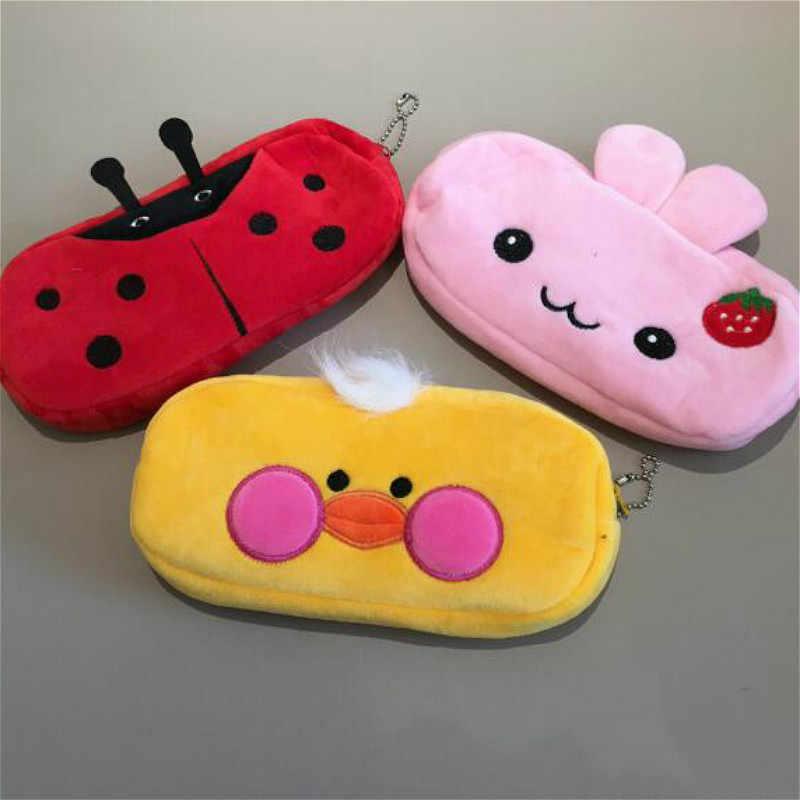 1 adet yüz kalem çantası peluş hayvanlar dolması fil oyuncak çocuklar uyku geri yastık sevimli fil bebek eşlik hediye