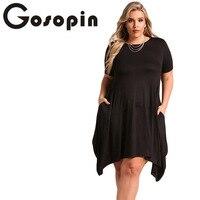 Gosopin Women Plus Size Casual Pocket Dress Summer Short Sleeve XXXL Black Dresses Large Sizes Beach