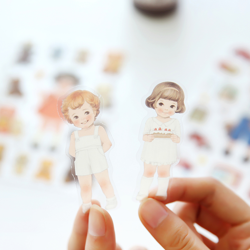 6 Sheets Kawaii Cute Girl Doll  Phone Decorative Stickers DIY Album Decor Stick Label Paper Crafts