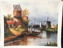 Free shipping New arrival Realist boats windmill river scenery oil painting handpainted wall pictures