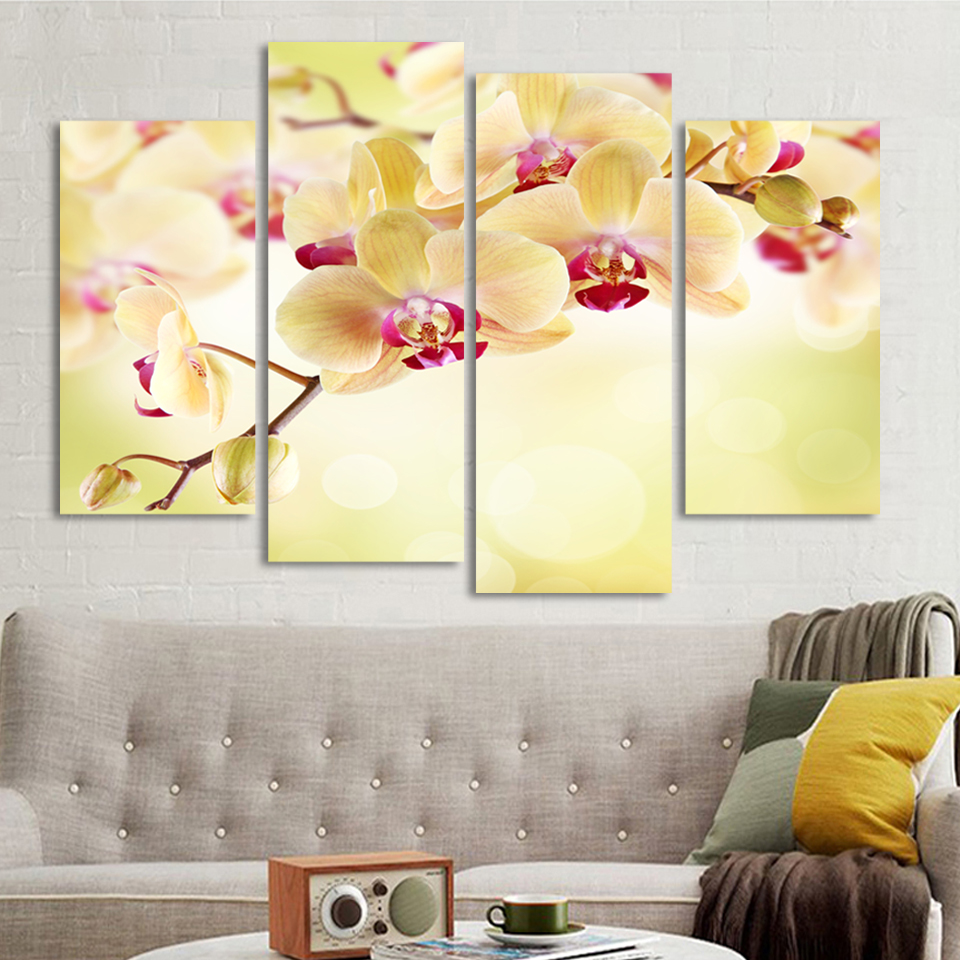 4 Panels Canvas Yellow Orchid Flower Painting On Canvas Wall Art ...