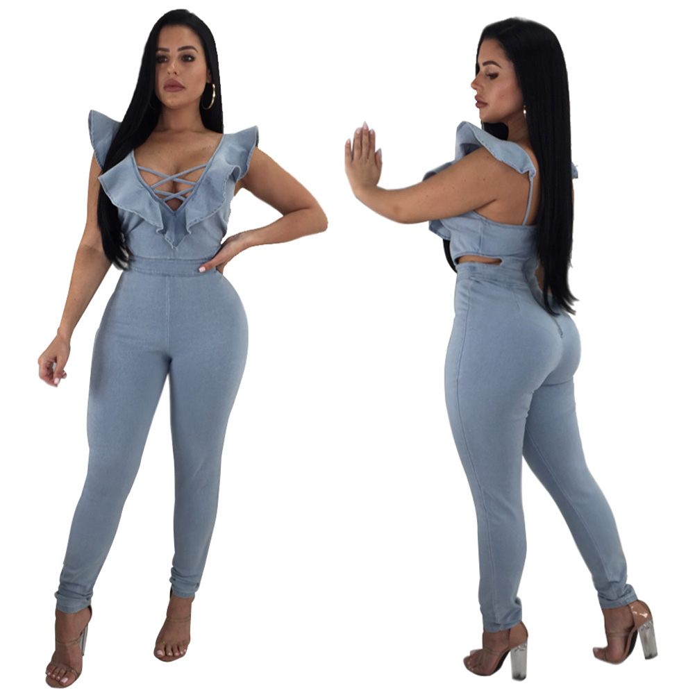 c54ad353077f New Sexy Women Ruffles Denim Jumpsuit Crisscross V Neck Sleeveless Cutout  Skinny jean Playsuit Romper Womens Jumpsuit Light Blue-in Jumpsuits from  Women s ...