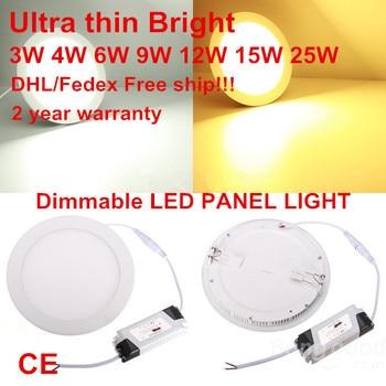 10pcs/lot Dimmable Ultra thin 3W/4W/ 6W / 9W / 12W / 15W/ 25W LED Ceiling Recessed Grid Downlight / Slim Round Panel Light