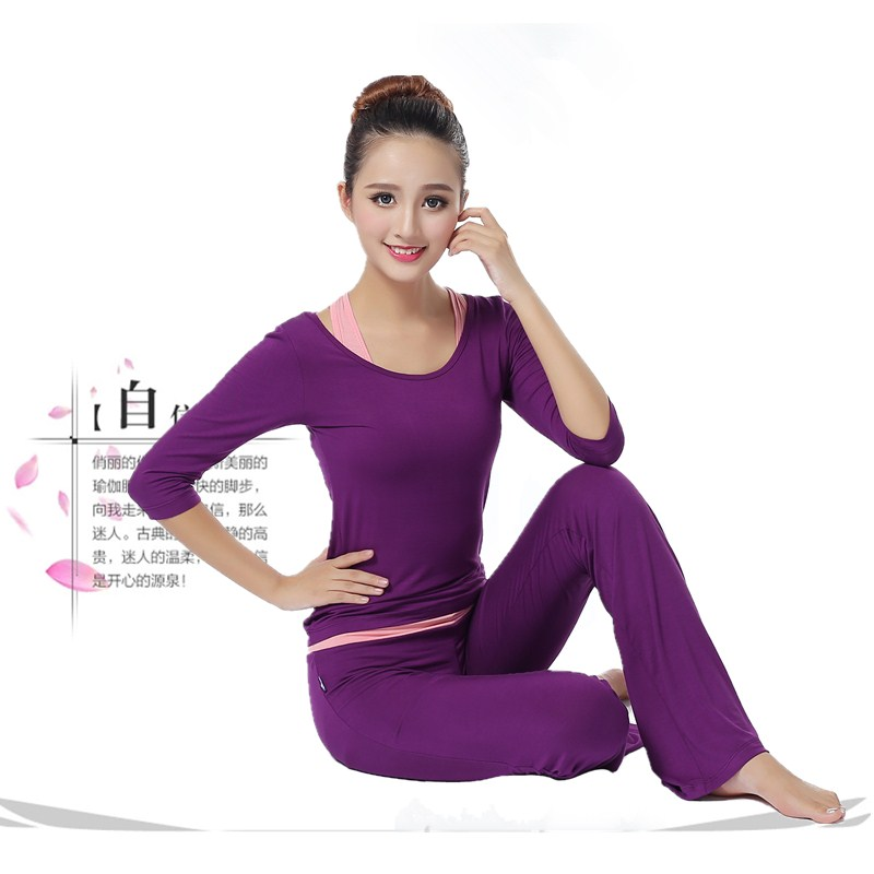 New 3 in 1 font b women b font yoga pants shirt bra suit three quarter
