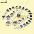 XUTAAYI Sterling Silver Jewelry Sets Black Imitation Sapphire Clean Necklace/Rings/Earrings/Bracelet For women Free Gift