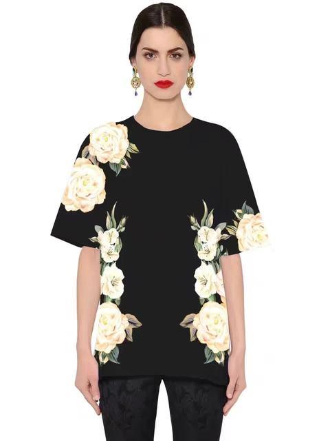 Nova Chegada 2017 Flor de Manga Curta Impressa T-shirt de Algodão Mulheres T-shirt 161214ML02