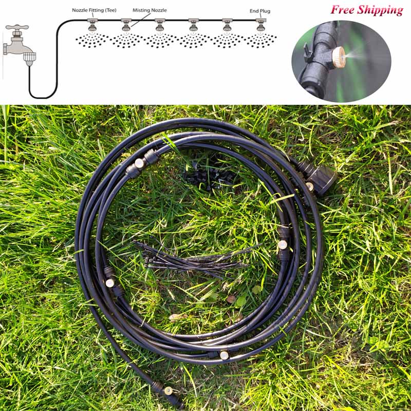 Black Outdoor Misting Cooling System Kit For Garden Patio Watering Irrigation Fog Misting Spray Lines 6 M-18 M System