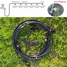 Black Outdoor Misting Cooling System Kit for Garden Patio Watering Irrigation Fog spray Lines 6 M-18 M