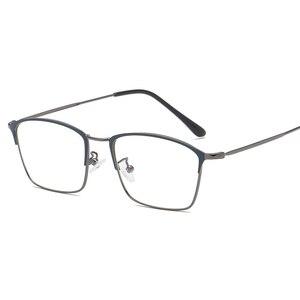Image 4 - Titanium Alloy Glasses Frame Men Ultralight Women Vintage Prescription Eyeglasses Anti blue Ray Optical Frame  Eyewear 9007