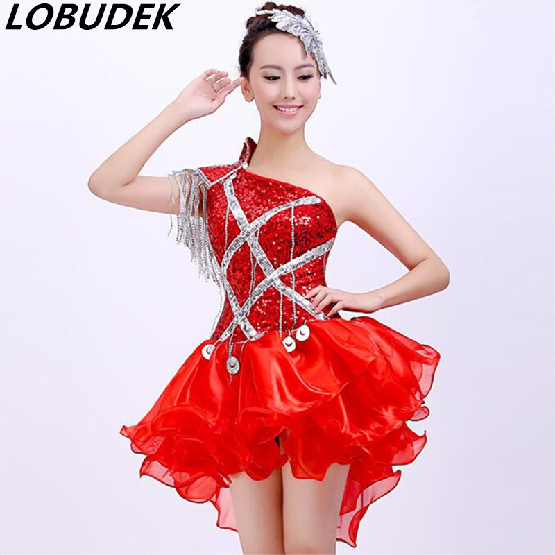 2016 new costumes fashion DS Christmas DJ costumes clothing sexy clothes female singer dancer star bar show prom dress red blue