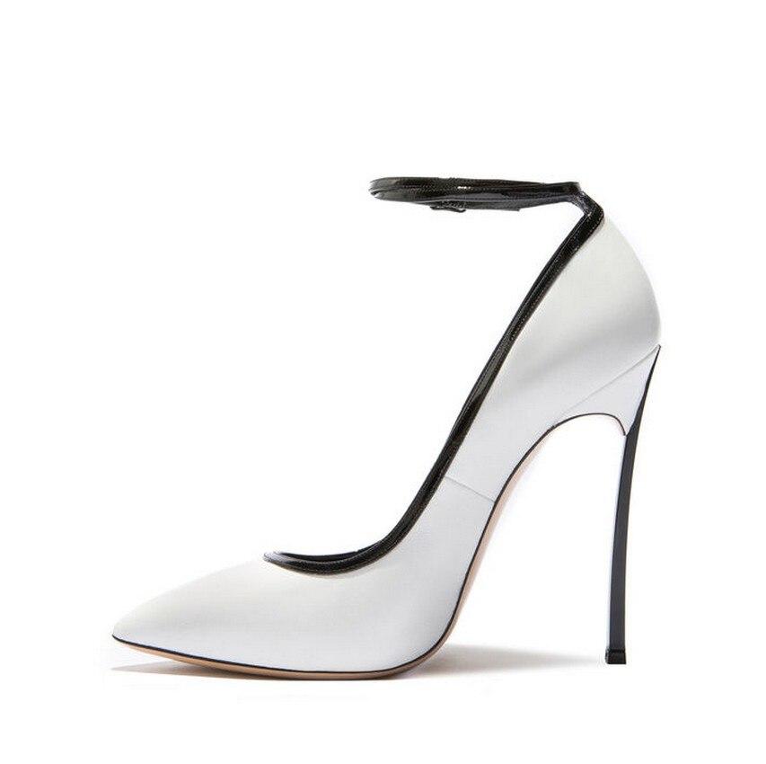 Parti Haute Chaussures Cm Blanc Cheville Talon Rose La 10 Belle Femmes Sexy Bout Acier Pompes Bride À Pointu De 1Owqg7