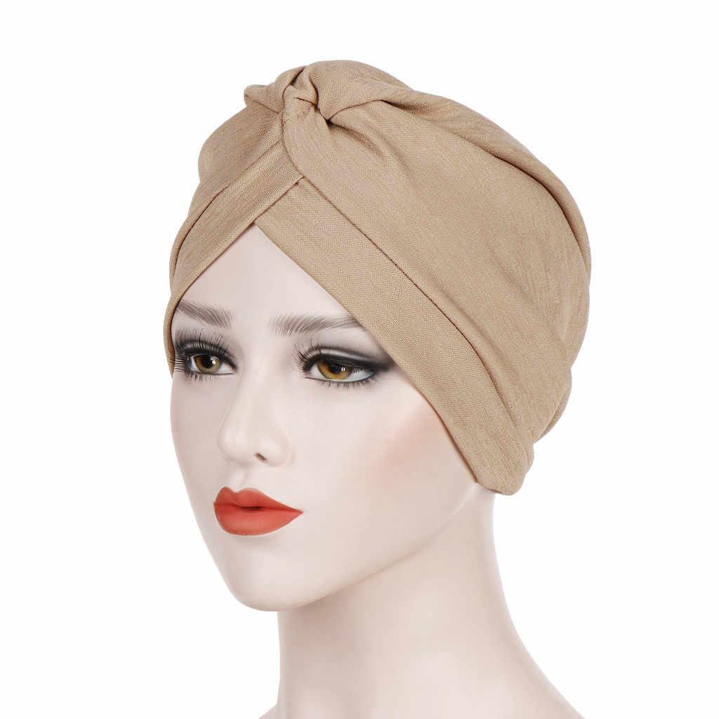 Однотонная Женская индийская шляпа мусульманский гофрированный хиджаб femme musulman Рак химия Шапочка-тюрбан шарф Кепка chouchou cheveux femme # P6