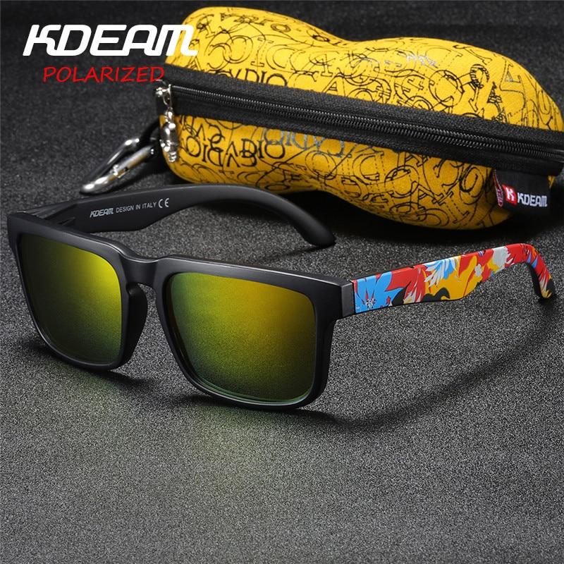Мужские и женские зеркальные солнцезащитные очки Kdeam, брендовые дизайнерские прямоугольные солнцезащитные очки с поляризационными стеклами, Жесткий Чехол для отдыха de sol oculos de solsun glasses mirror   АлиЭкспресс
