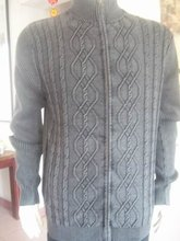 Men's Sweaters Turtlenecks Zippered Computer Knitted 100%Cotton Gray Size L