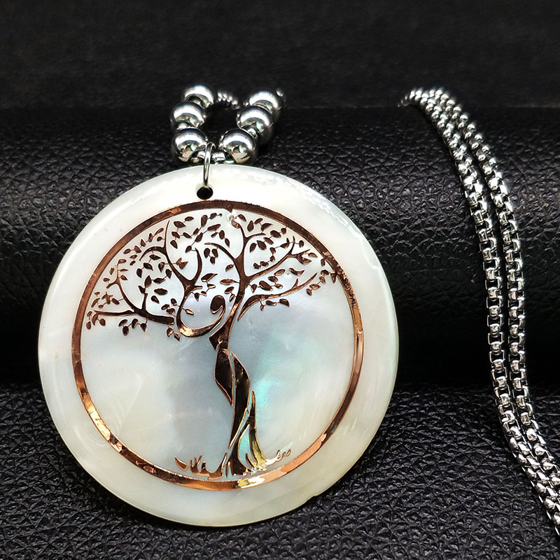 HTB11F0cG1uSBuNjSsplq6ze8pXad - Shell Stainless Steel Statement Necklace Women Tree of Life Rose Gold Color Long Necklace Jewelry bisuteria mujer N18415