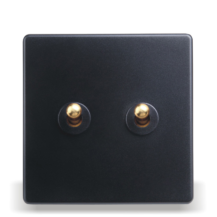Home - Installed Wall Switch Socket 86 - Type Concealed Black Steel Frame Double - Open Dual - Control Switch, PC 220V 10A scinder switched socket package 15 steel frame two or three five hole electrical outlet wall switch panel switch