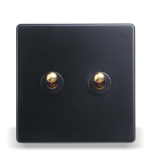 Home - Installed Wall Switch Socket 86 - Type Concealed Black Steel Frame Double - Open Dual - Control Switch, PC 220V 10A