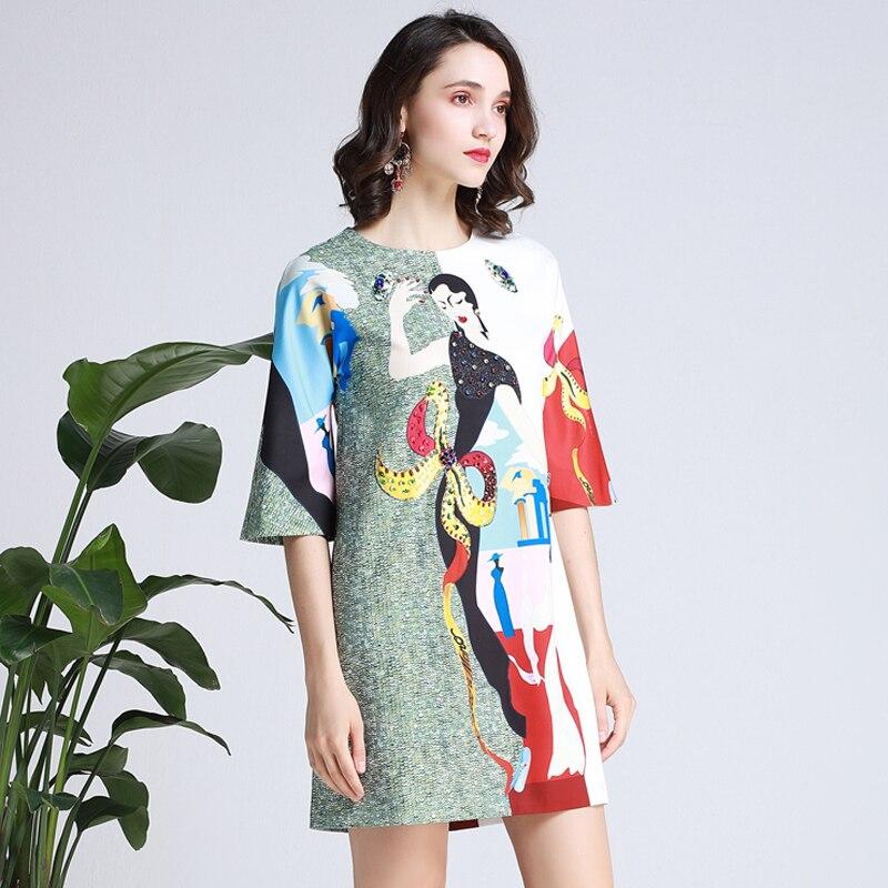GoodliShowsi projektant Runway Vestido lato nowy kobiety O Neck Vintage znaków Print diamenty cekiny eleganckie luźne sukienki szata w Suknie od Odzież damska na  Grupa 2