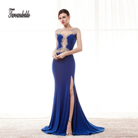 Sheer Cutout Neckline See Through Mermaid Royal Blue Chiffon Prom Dress Crystals Illusion Back Evening Gowns