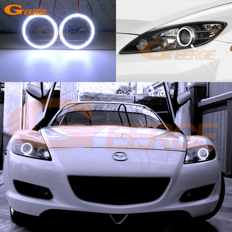 все цены на For Mazda RX8 RX-8 2004 2005 2006 2007 2008 Excellent angel eyes Ultra bright illumination COB led angel eyes kit halo ring онлайн